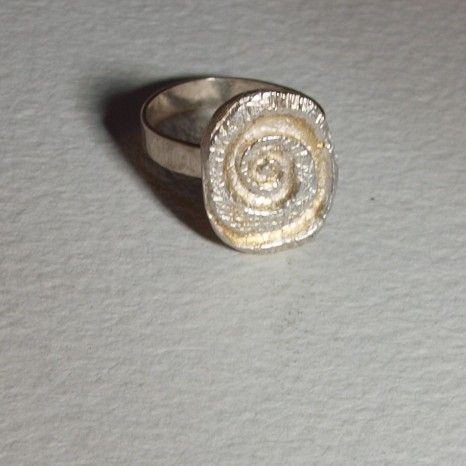 Silver fossil ring
