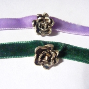 Silver rose chokers
