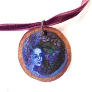 Lavender lady wooden pendant